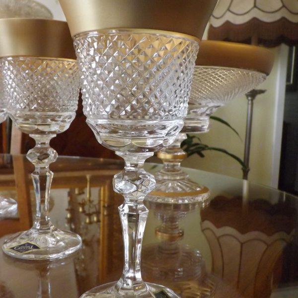 Naujos Bohemian krištolo vyno taurės paauksuotos