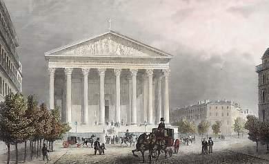 """Place de la Madeleine"" gatvė ir bažnyčia."