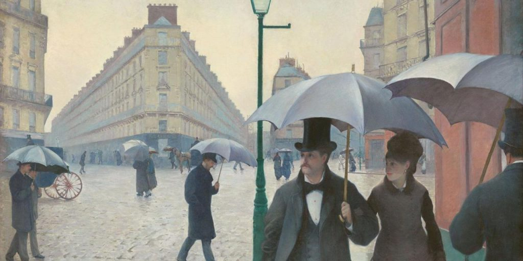 """19 a.  Paryžiaus gatvė. """"Lietinga diena"""" Dailininkas Gustave Caillebotte"""