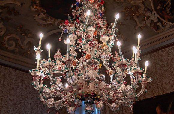 Murano glass chandelier Ca' Rezzonico venice