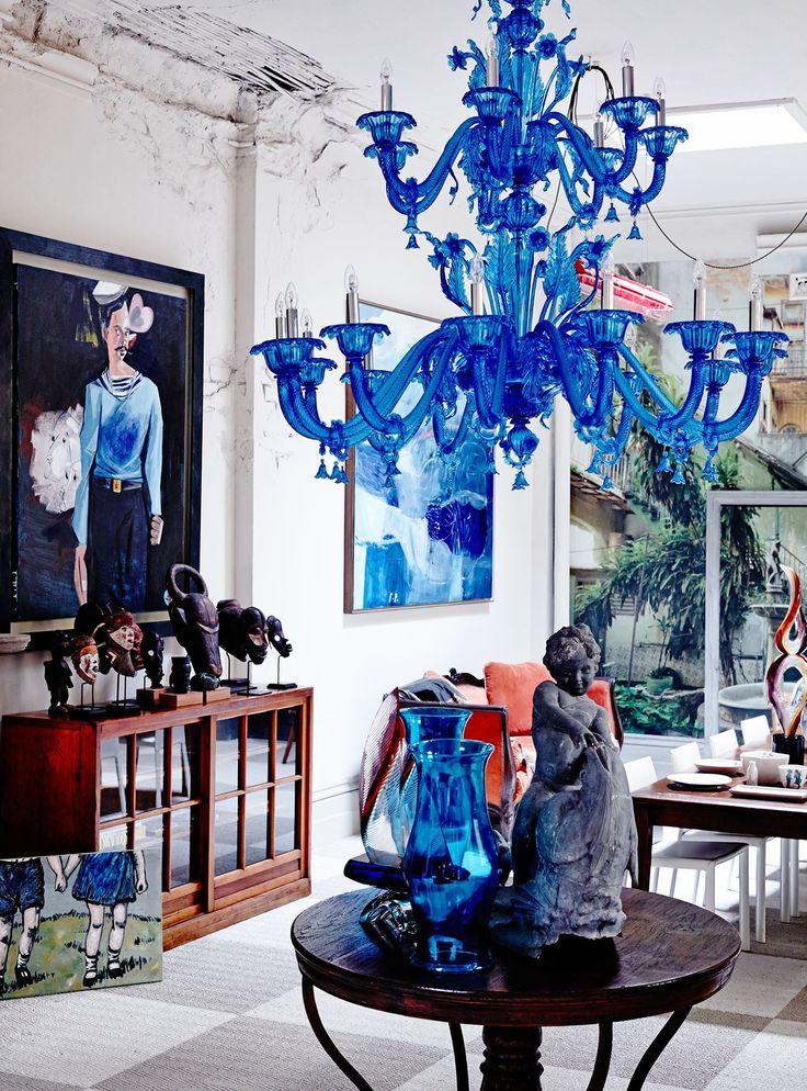 Murano stiklo šviestuvas šiuolaikiniame interjere.