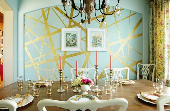 Eclectic-dining-room-with-unique-striped-accent-wall